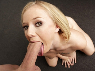 Sweet pretty blonde babe Tracey Sweet sucks a big cock perfectly