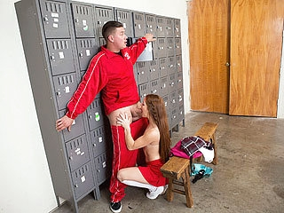 18 year old pretty and sexy cheerleader Kimberly rides the big cock