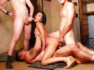 Amazing brunette slut in hot DP encounter with three cocks